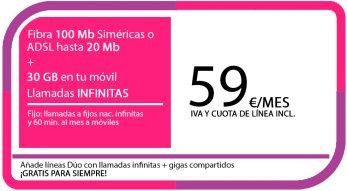 FIBRA 100MB ADSL 20MB + LA SINFIN 30GB