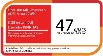 FIBRA 100MB ADSL 20MB + LA SINFIN 3GB