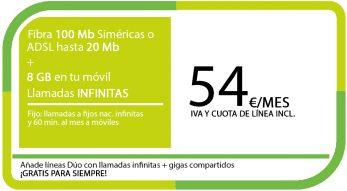 FIBRA 100MB ADSL 20MB + LA SINFIN 8GB