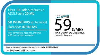 FIBRA 100MB ADSL 20MB + LA SINFIN GB