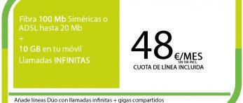 FIBRA 100MB ADSL 20MB + SINFIN 10GB PRO