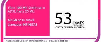 FIBRA 100MB ADSL 20MB + SINFIN 40GB PRO