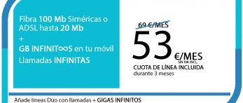 FIBRA 100MB ADSL 20MB + SINFIN GB PRO