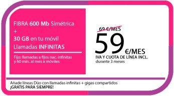 FIBRA 600 MB + LA SINFIN 30GB