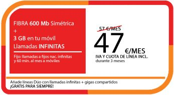 FIBRA 600 MB + LA SINFIN 3GB