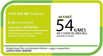 FIBRA 600 MB + LA SINFIN 8GB