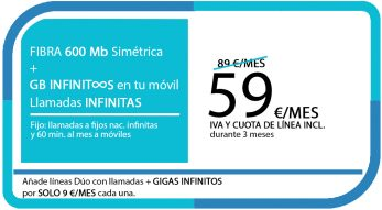 FIBRA 600 MB + LA SINFIN GB