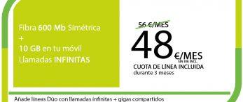 FIBRA 600MB + SINFIN 10GB PRO