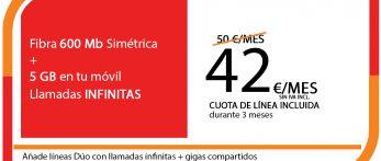 FIBRA 600MB + SINFIN 5GB PRO