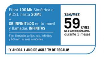 FIBRA 100MB/ADSL20MB + SINFÍN ∞